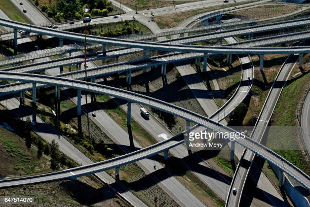 light horse interchange, western sydney, aerial photography - west direction stock pictures, royalty-free photos & images
