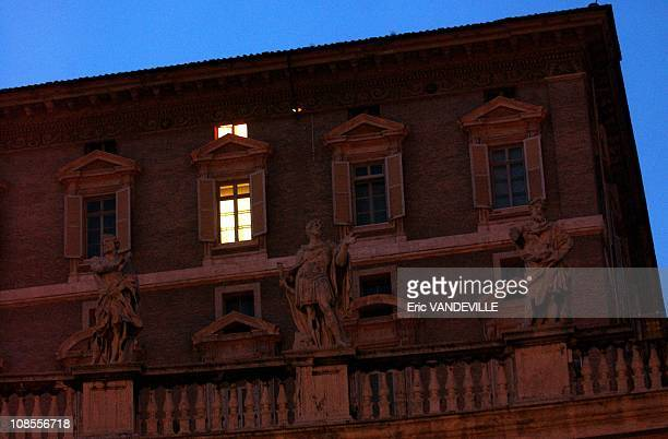 A light in the dark as Pope John Paul II is hospitalized at Gemelli hospital one of the windows of his private apartments remains lit on the last...
