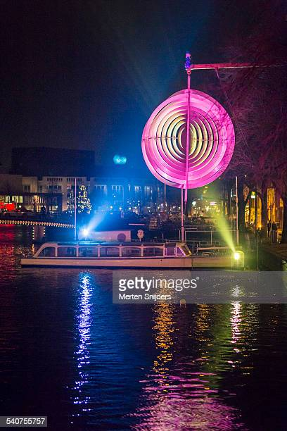 Light installation at Amstel river