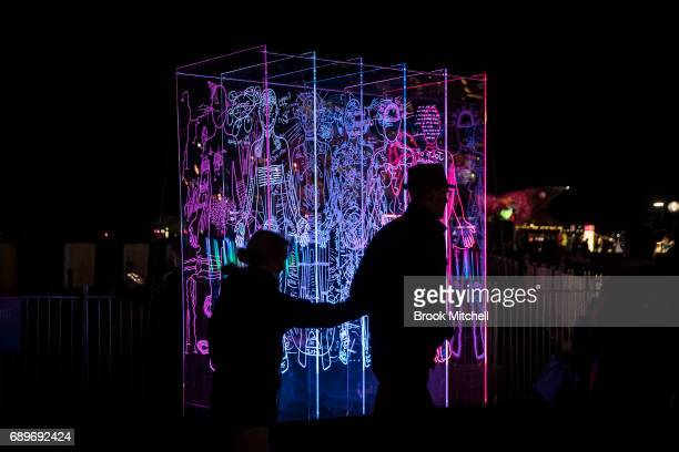 A light installation at the Vivid Festival on May 29 2017 in Sydney Australia Vivid Sydney is an annual festival that features light sculptures and...