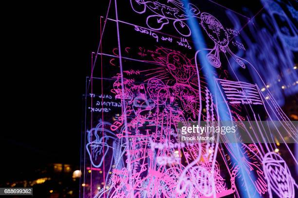 A light installation during Vivid on May 26 2017 in Sydney Australia Vivid Sydney is an annual festival that features light sculptures and...