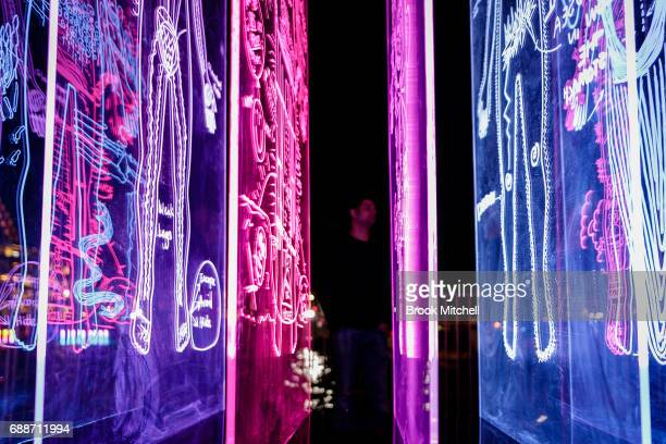 A light installation during Vivid opening night on May 26 2017 in Sydney Australia Vivid Sydney is an annual festival that features light sculptures...