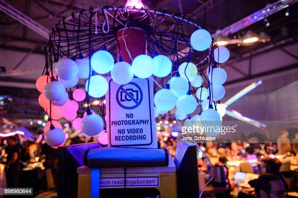 A light installation stands on a table during the 34C3 Chaos Communication Congress of the Chaos Computer Club on December 27 2017 in Leipzig Germany...