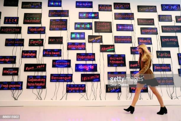 LED light installation titled 'Welcome Wall' by Pascale Marthine Tayou of Cameroon on exhibit at the Bass Museum as part of Art Basel Miami Beach on...