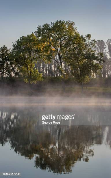 A light layer of fog forms on a Russian River Valley vineyard pond as viewed on September 21 near Healdburg California A cool spring and mild summer...