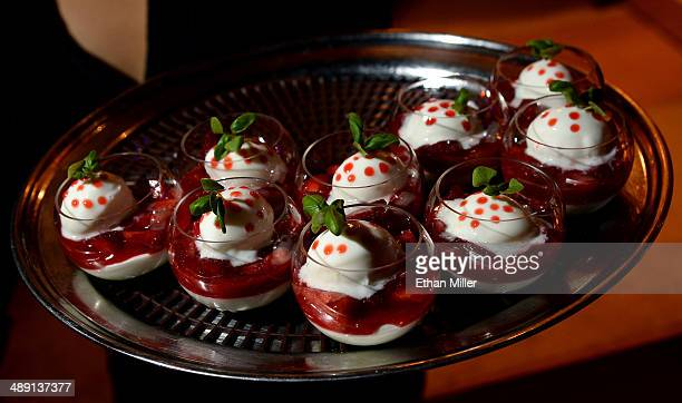 Light lemon mousseline with strawberry and basil gelee desserts are served at the Joel Robuchon booth at Vegas Uncork'd by Bon Appetit's Grand...