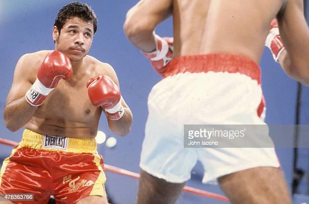 Tony Ayala in action vs Jose Baquedano during fight at Caesars Palace Las Vegas NV CREDIT John Iacono