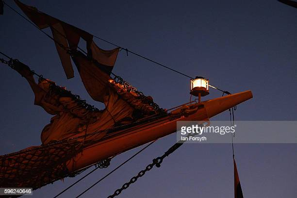 A light on a bowsprit of a ship shines in the early morning during the North Sea Tall Ships Regatta on August 27 2016 in Blyth England The bustling...