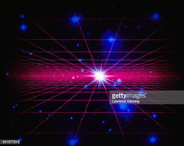 light on horizon of two parallel grids in space - parallel stock pictures, royalty-free photos & images