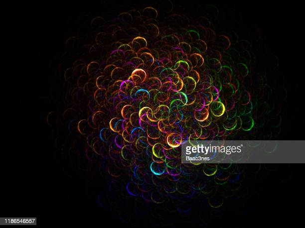 light painted circles with rainbow colors - abstract computer graphic - integrated stock pictures, royalty-free photos & images