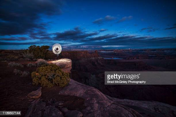light painting at dead horse point - dead horse point state park stock pictures, royalty-free photos & images