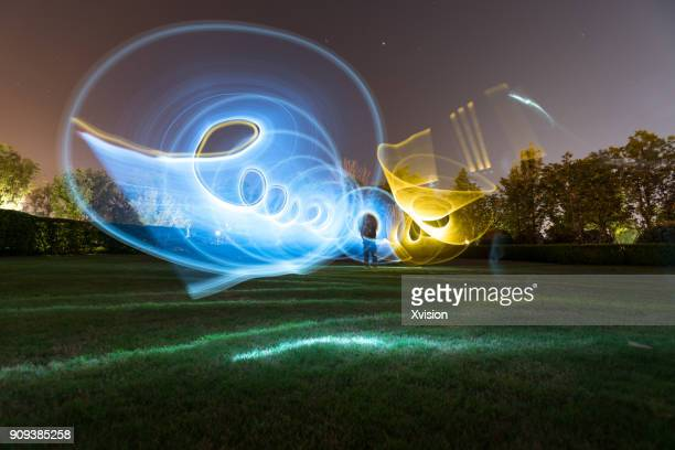 Light painting in space with cold and warm light