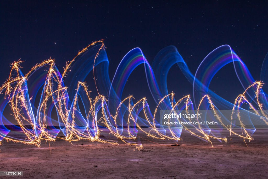 Light Painting On Field At Night : Stock Photo