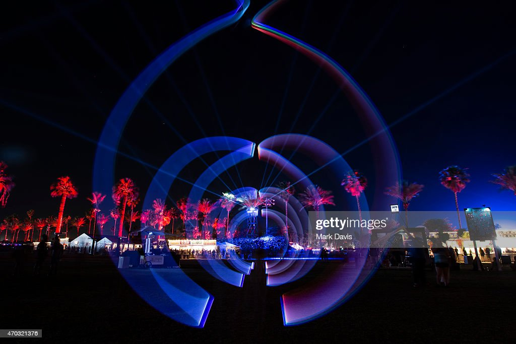 A light painting on the terrace during day 2 of the 2015 Coachella Valley Music And Arts Festival (Weekend 2) at The Empire Polo Club on April 18, 2015 in Indio, California.