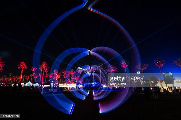 Light painting on the terrace during day 2 of the 2015 Coachella Valley Music And Arts Festival at The Empire Polo Club on April 18, 2015 in Indio,...