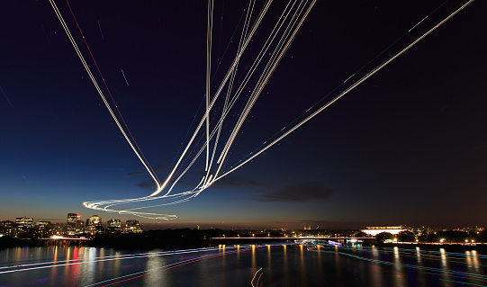 Light Painting on the Water and in the Air - gettyimageskorea
