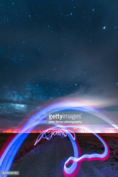 Light painting under the stars in a Colorado desert, USA