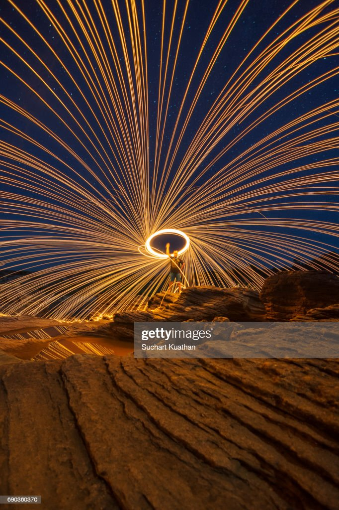 Light painting using steel wool upon a rock at night in the rock light painting using steel wool upon a rock at night in the rock area with beautiful mozeypictures Image collections