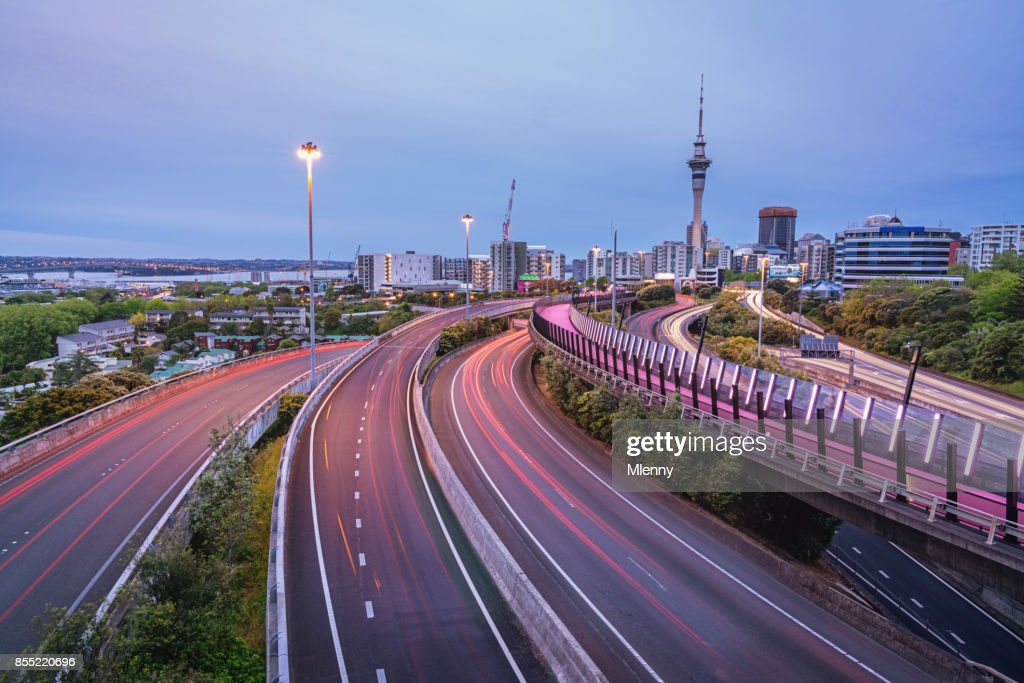 Light Path Cycleway Auckland City Highway New Zealand : Stock Photo