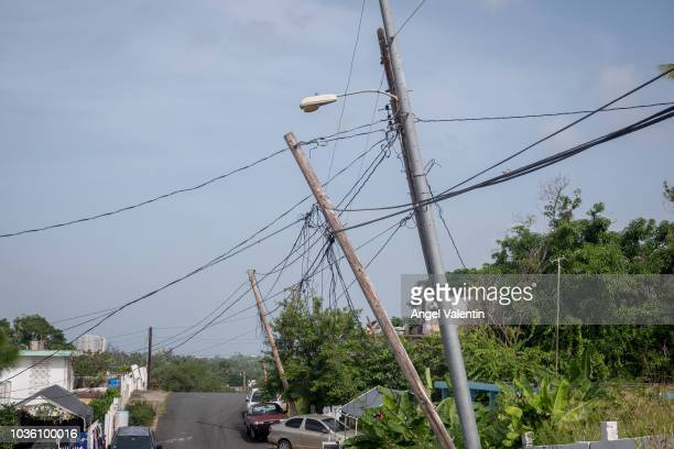 Light poles listing to the side since Hurricane Maria touched land on September 19 2018 in Luquillo Puerto Rico Remainders of the natural disaster...