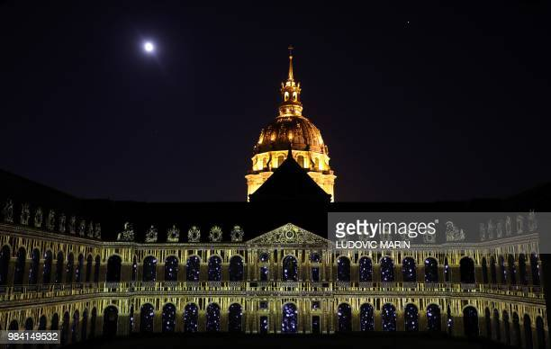 A light projection illuminates the facade of the Hotel des Invalides in Paris during the show 1918The Rise Of A New World on June 25 2018 /...
