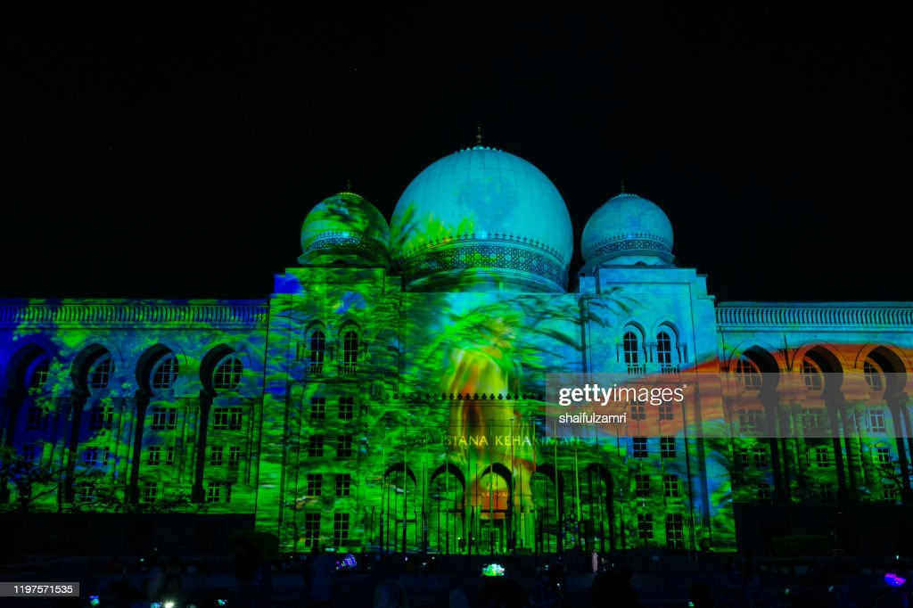 Light projection on Istana Kehakiman at Festival Light And Motion Putrajaya (LAMPU) 2019 for new year celebration in Putrajaya. : Stock Photo