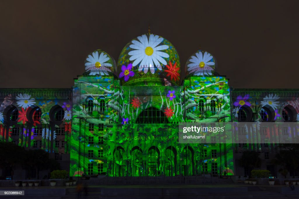 Light projection on Istana Kehakiman at Festival Light And Motion Putrajaya (LAMPU) 2017 for new year celebration in Putrajaya. : Stock Photo