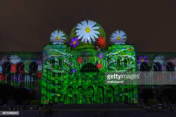 Light projection on Istana Kehakiman at Festival Light And Motion Putrajaya (LAMPU) 2017 for new year celebration in Putrajaya.