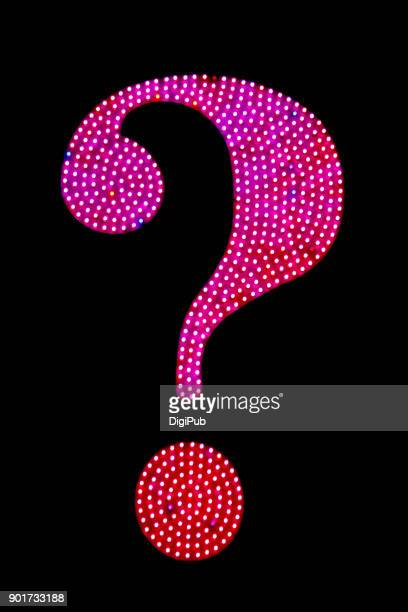 LED light question mark on black background