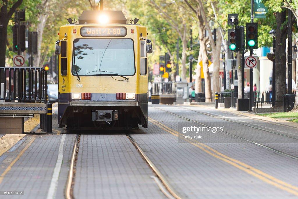 Light rail train on K Street Sacramento : Stock Photo