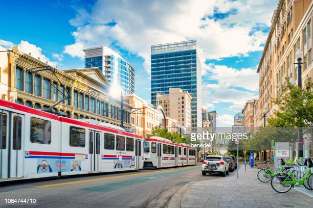 light rail tram in downtown salt lake city utah usa - salt lake city utah stock photos and pictures
