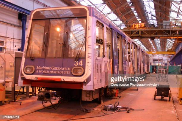 A light rail vehicle undergoes refit at Alstom's Wolverton works November 2003