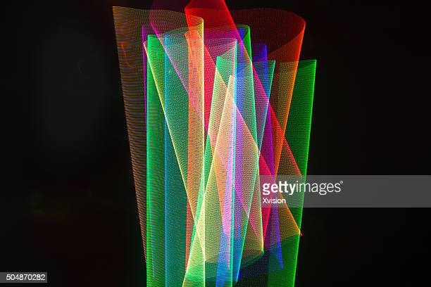 LED light rainbow trails in space