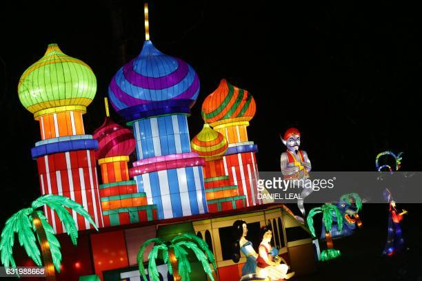 A light sculpture depicting Aladdin is pictured during a photocall to promote the Magical Lantern Festival at Chiswick House Gardens in west London...