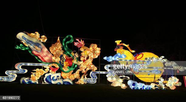 Light sculptures depicting flying Apsaras female spirits of the clouds are pictured during a photocall to promote the Magical Lantern Festival at...