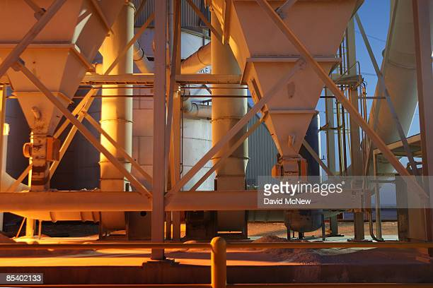 Light shines at the US Gypsum dry wall board plant which had to lay off workers who were once busy during the last housing boom on March 12 2009 at...