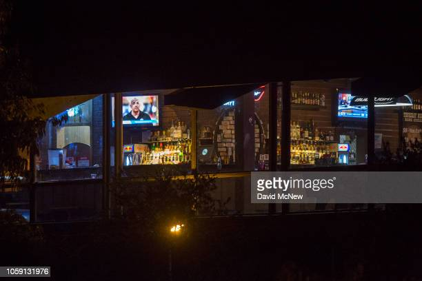 Light shines from inside The Borderline Bar and Grill the scene of a mass shooting on November 8 2018 in Thousand Oaks California At least twelve...