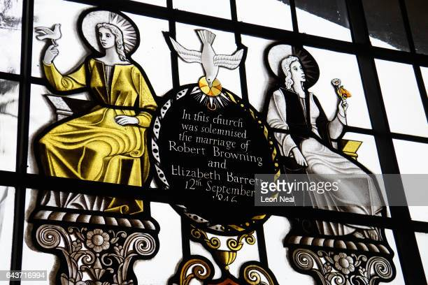 Light shines through a stainedglass window celebrating the marriage of Robert and Elizabeth Barrett Browning in St Marylebone's Church on January 31...