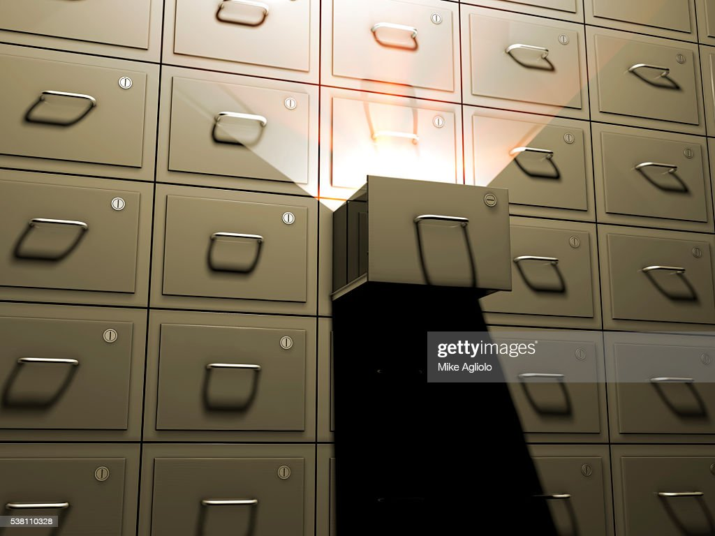 open file cabinet. Light Shining From Open File Cabinet : Stock Photo A