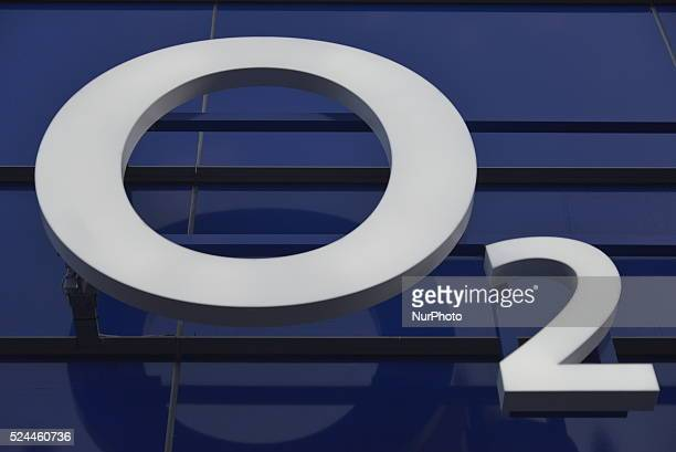 Light shining on the O2 logo on the front fascade a new O2 store in Manchester England United Kingdom on Wednesday 6th January 2016