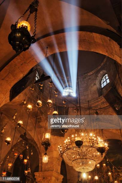 light shining through church roof window - church of the holy sepulchre stock pictures, royalty-free photos & images