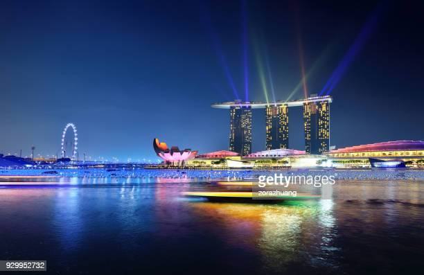 light show at marina bay, singapore - national holiday stock pictures, royalty-free photos & images