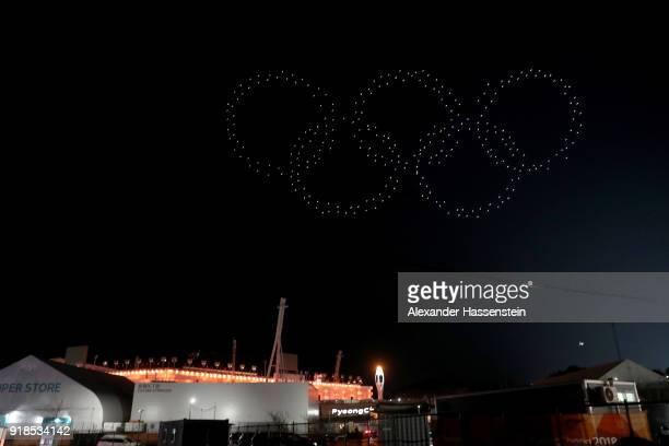 Light show comprised up of drones from Intel are seen after the Medal Ceremony on day six of the PyeongChang 2018 Winter Olympic Games at Medal Plaza...