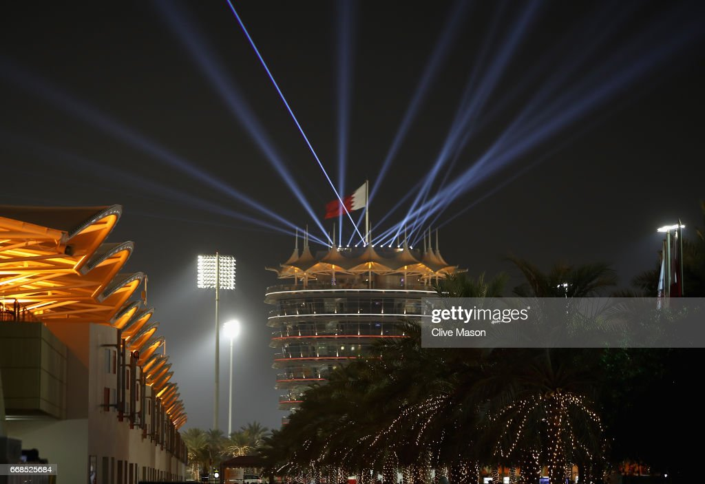 A light show from the top of the Tower over the paddock during practice for the Bahrain Formula One Grand Prix at Bahrain International Circuit on April 14, 2017 in Bahrain, Bahrain.