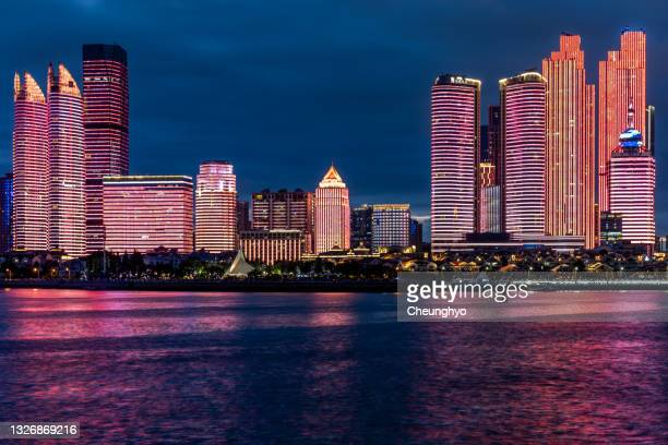 light show in qingdao, shandong province, china - 100th anniversary stock pictures, royalty-free photos & images