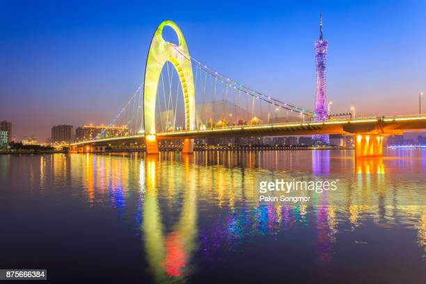 Light show in sunset time at modern bridge in Zhujiang river and modern building of financial district in guangzhou city, China
