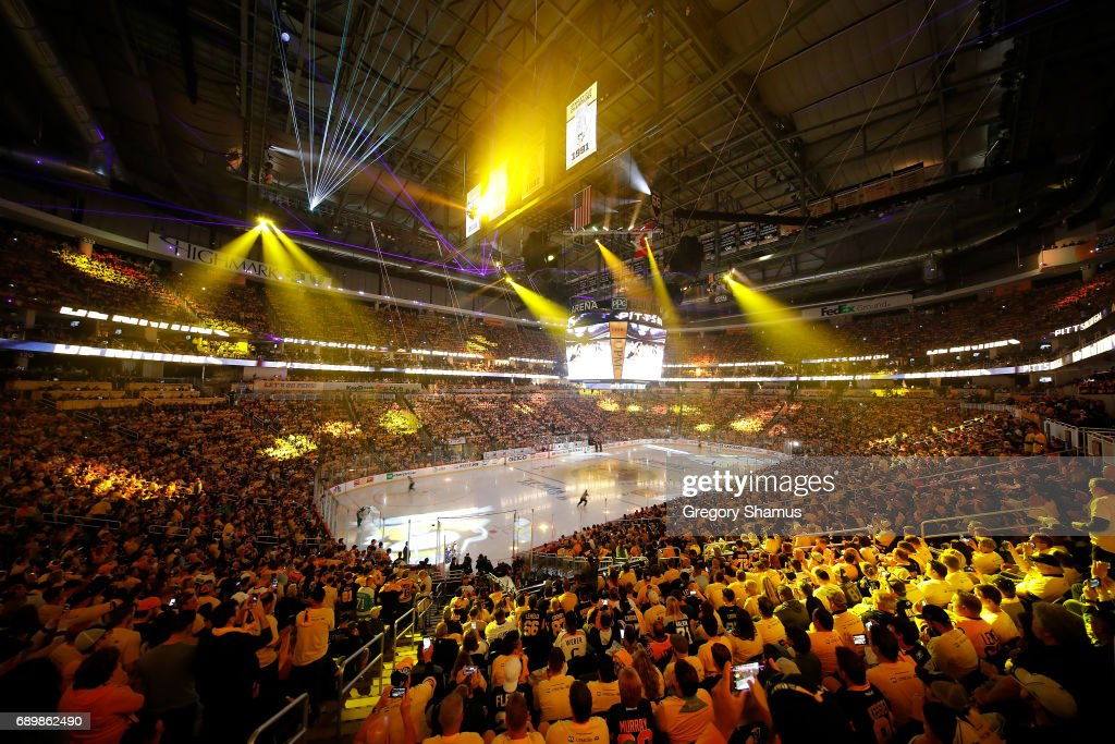 A light show is displayed on the ice prior to the first period between the Pittsburgh Penguins and the Nashville Predators of Game One of the 2017 NHL Stanley Cup Final at PPG Paints Arena on May 29, 2017 in Pittsburgh, Pennsylvania.