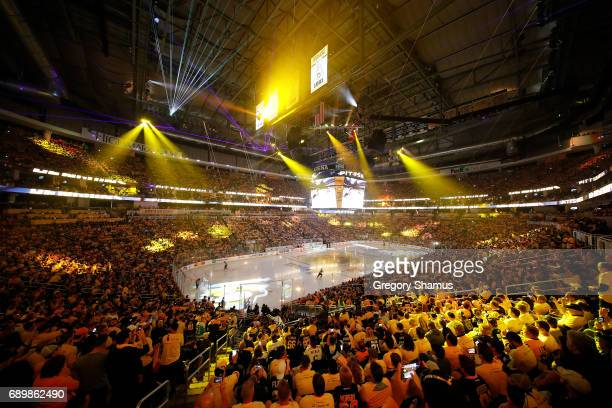 A light show is displayed on the ice prior to the first period between the Pittsburgh Penguins and the Nashville Predators of Game One of the 2017...