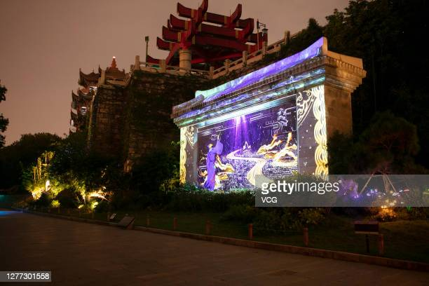 A light show is held at the Yellow Crane Tower Park to mark upcoming Chinese National Day on September 28 2020 in Wuhan Hubei Province China
