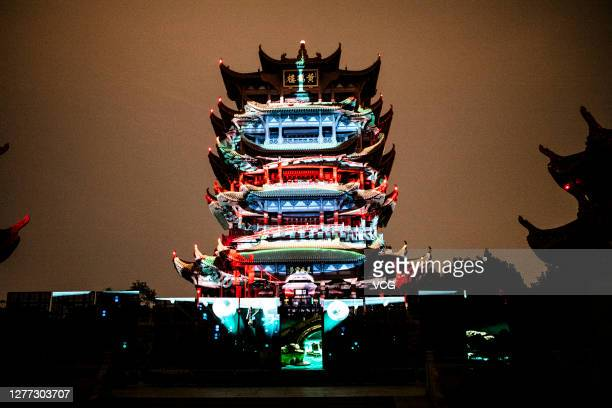 Light show is held at the Yellow Crane Tower Park to mark upcoming Chinese National Day on September 28, 2020 in Wuhan, Hubei Province China.